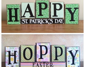 REVERSIBLE!!  St Patricks Day and Easter decor, Wood Happy Easter Sign, Hoppy Easter, Easter Blocks, St Patricks Day Blocks, block sign