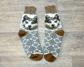 Woolen Knitted Women Thick Warm Soft Socks With Ornament Husky Dog - Best Price