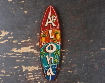 Aloha Mini Surfboard - beach, tropical, hawaiian wall decor