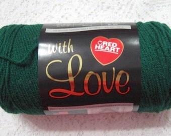 Yarn Destash 7 Ounces Acrylic Worsted Evergreen Red Heart with Love
