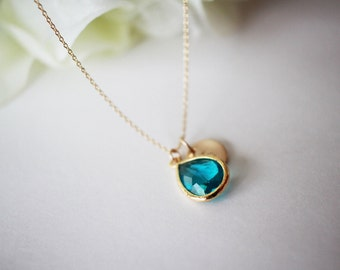 December birthstone necklace, blue topaz necklace, initial birthstone necklace, monogram necklace