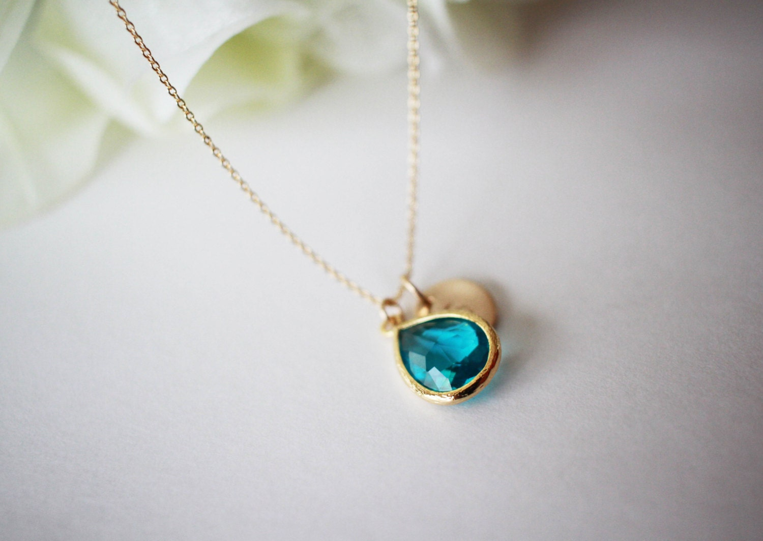 December birthstone necklace blue topaz necklace initial