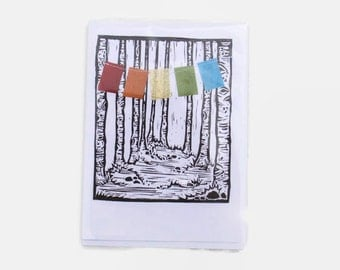 Handmade Greeting Card with Aspens and prayer flags