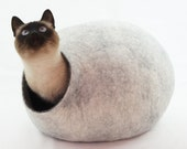 Cat bed, house, cave. Size S (Small). Natural felted sheep wool. Color snow white. Made by kivikis.