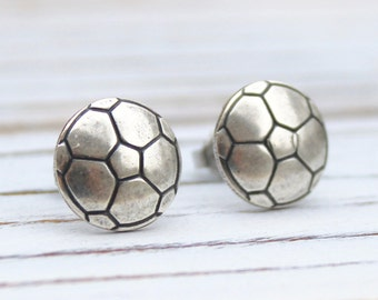 Soccer Ball - antique silver plated post earrings
