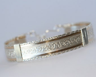 Sterling Silver and Gold Pattern Bracelet