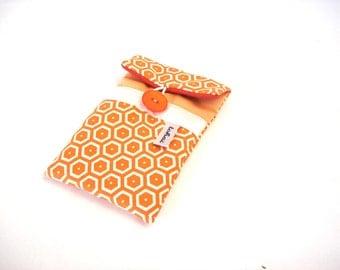 phone case vintage style fabric-pastel orange iphone sleeve-quilted case geometric fabric