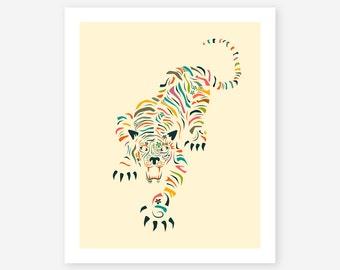TIGER, Giclée Fine Art Print, Colourful, Minimal, Pop Art for the home decor