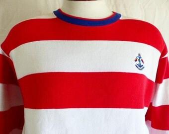 vintage 80s Charter Club by Jane Justin nautical red white blue horizontal stripe graphic sweatshirt fleece anchor logo stripe collar medium