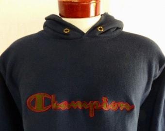 vintage 80's 90's Champion navy blue reverse weave graphic hoodie sweatshirt olive green burgundy red embroidered logo stripe cuff hem Large
