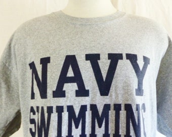 vintage 90's United States U.S. Navy Swimming heather grey graphic t-shirt navy blue block letter logo print loose boxy fit military large