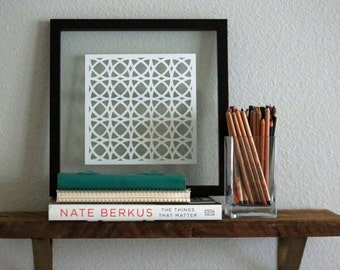 "Handmade Paper Cut Wall Decor, Handmade 8""x8"" Interlocked Pattern, Modern Cutout Illustration, Square Fine Art"