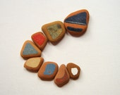 Painted Terracotta, Sea Beach Pottery, Pendant Supplies, Mosaic Craft, Earthy Color Pottery