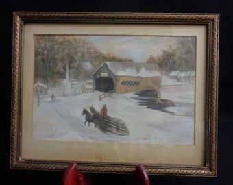 Folkart Primitive Painting, Covered Bridge Watercolor Painting
