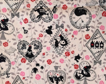 Alice in Wonderland and Rose Fabric Pink / Japanese Fabric - 110cm x 50cm