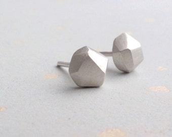 Small Geometric Earrings - Faceted - Geometric Earrings - Everyday Jewelry