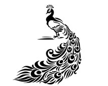 Vintage Peacock Feather Stencil or Vinyl Decal