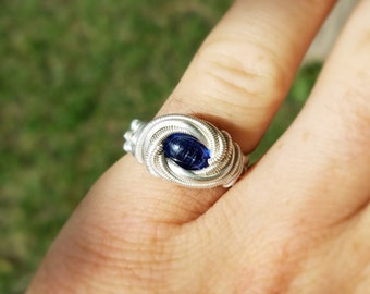 Royal Blue Kyanite Wire Wrapped Ring