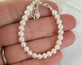 Pearl Baby Bracelet, Baby Bracelet, Genuine AAA Freshwater Pearls, Baptism Bracelet, Christening Bracelet, Pearl Bracelet, Sterling silver