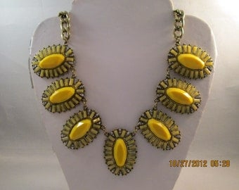 Gold Tone Chain Necklace with Gold, Yellow beads and Clear Rhinestone Pendants