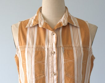 Vintage Cotton Stripe Cowgirl Shirt . Sleeveless Tan Stripe Denim Jean Shirt . Shirt Collar . Juniors size L . Women's size Med