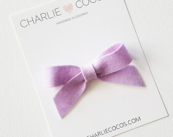 "SALE Baby / Girls Felt Bow Headband OR Hair Clip ""Lilac"" -Premium Wool Felt Bow by charlie coco's"