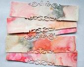Die Cut Long Labels Pink Grey Tags With Ornate Edges Scrapbooking Supply Delicate Filigree Die Cuts OOAK Watercolor Marbled Labels