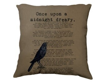 Midnight Dreary, Raven, Edgar Allan Poe Quote, Book Lover Gifts, Bookish Pillow, Literary Pillow, Library, Book Club Gifts, Teacher Gifts