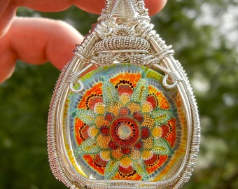 Heady Glass Pendant, Heady Wire Wrap, Statement Pendant, Dot Implosion Glass,  Wire Wrapped Pendant, Mandala Pendant, Boro Pendant, Large