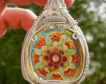 Heady Glass Pendant, Heady Wire Wrap, Statement Pendant, Dot Implosion Glass,  Wire Wrapped Pendant, Mandala Pendant, Boro Pendant, Large
