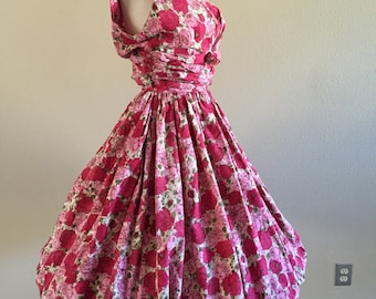 50s Rose Print Bubble Hem Cotton Sundress