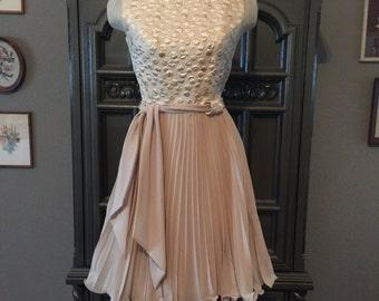 60s Champange Chiffon Party Dress