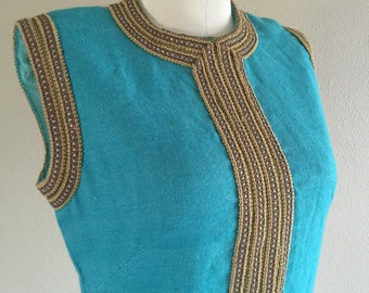60s Turquoise Greek Made Mini Dress
