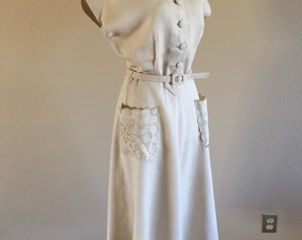 50s Linen Classic Day Dress w Pockets