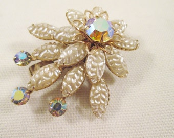 Beau Jewels Baroque Pearl Brooch Clear Aurora Borealis Crystals Gift Idea Wedding Mother's Day