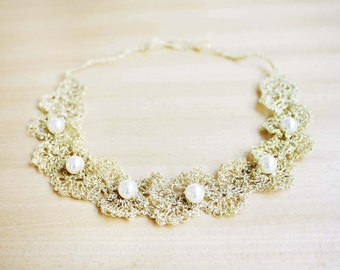 Baby girl gold crochet headband with a pearls