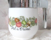 Pot a Creme' ceramic container with plastice cover for pouring 1990's, connoisseur, chef, home cooking, rosesandbutterflies