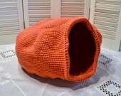 Crochet Cat Cave Nest  Pet Bed Coral Orange Red Handmade Littlestsister