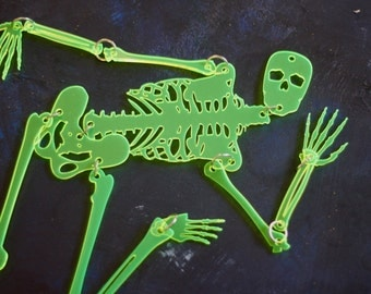 Halloween Skeleton - Window Decoration - Transparent Chartreuse Articulated and Posable