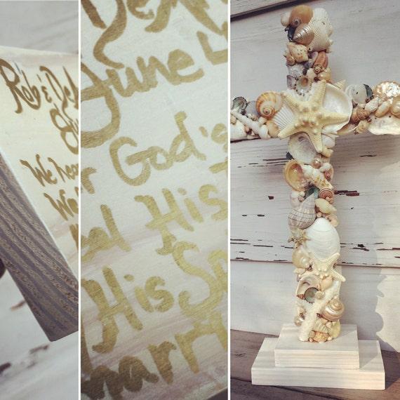 Wedding Altar Beach: Wedding Altar Cross/Custom Order Seashell Cross/Beach Wedding