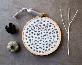Geometric Embroidery, Hoop Art, Embroidery Art, Hand-stitched Embroidery, Sparkle Stars, Star Embroidery, Abstract, Blue, Night Sky