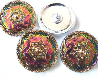 Czech  Glass Buttons  4 pcs with  vitrail med    27mm    GORGEOUS  IVA L 130