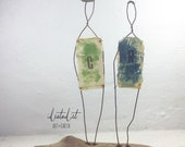 Wire Sculpture Metal and Driftwood Mixed Media Folk Art