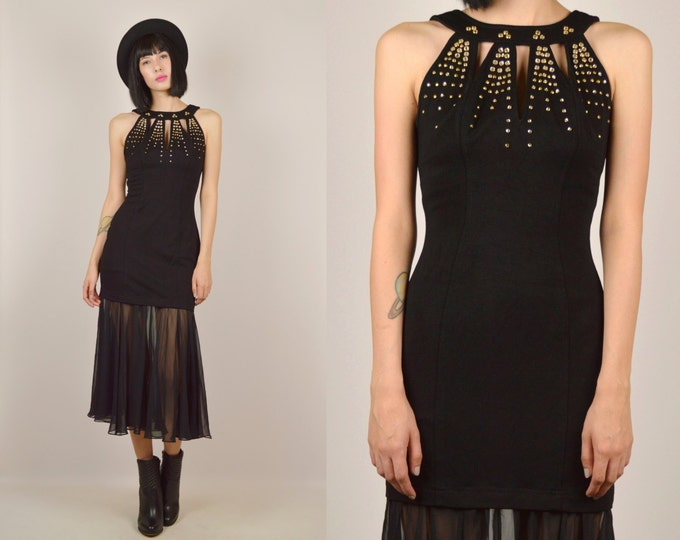 80's Black Bodycon Cocktail Party Dress