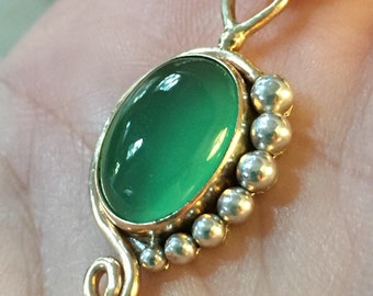 Handmade Glowing Emerald Green Chrysoprase Pendant set in 14k Gold and Sterling Silver
