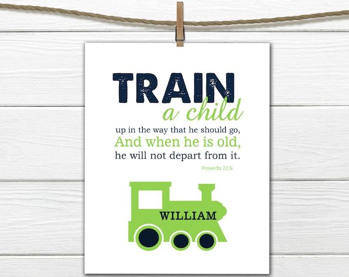 Bible Verse Nursery Print Proverbs 22:6 Train Personalized Scripture Print