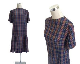 Blue Check Vintage Dress - 1950s 1960s - Pleated Preppy School Dress