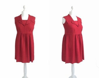 Red Vintage Dress - 1940s 1950s - Red Dress - Vintage Dress - Sleeveless Crepe Dress - EWA Metal Zipper - Shawl Collar Dress