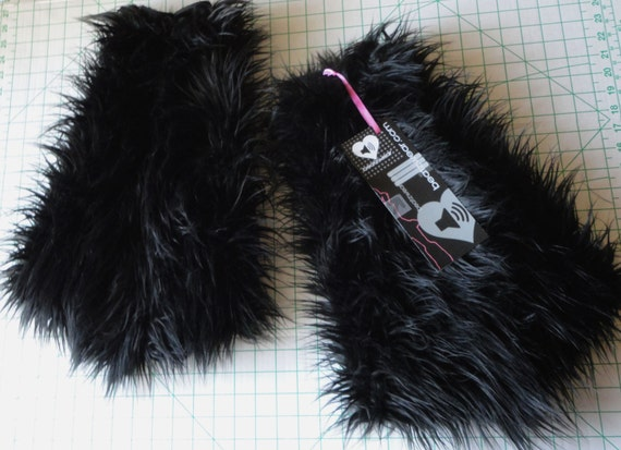 MADE TO ORDER Black superpoof fluffies rave fluffies black leggings furry boots halloween costume black boots