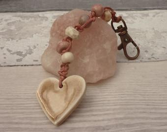 heart bag charm, Valentine gift,  pink bag charm, cute bag charm, pastel bag charm, love token, rustic bag charm, UK shipping boho valentine
